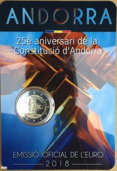 2 euros Andorra 2018 - 25 años Constitución BU FDC