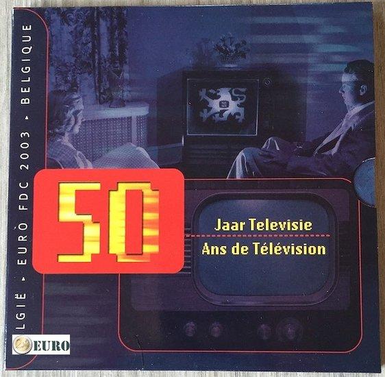 Serie de euro BU FDC Bélgica 2003 50 años Televisión