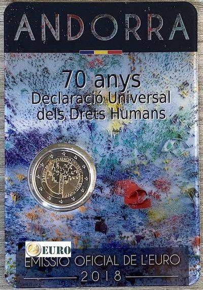 2 euros Andorra 2018 - 70 años Derechos Humanos BU FDC Coincard
