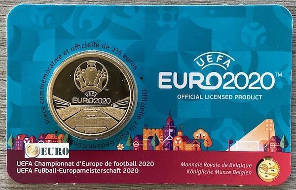 2,50 euros Bélgica 2021 - Eurocopa UEFA EURO 2020 BU FDC Coincard FR