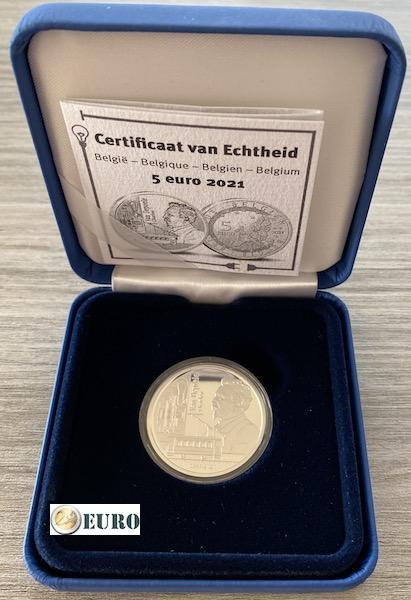 5 euros Bélgica 2021 - Charles Van Depoele BE Proof Plata