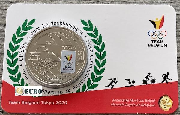 5 euros Bélgica 2021 - Team Belgium Tokio BU FDC Coincard Coloreado