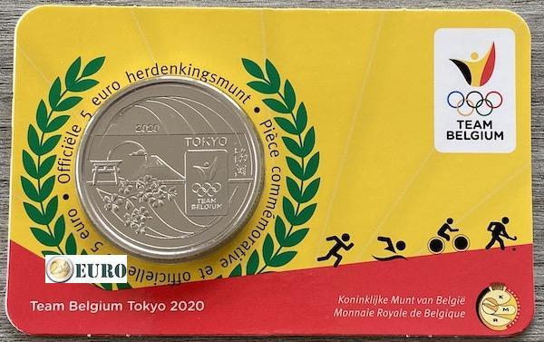 5 euros Bélgica 2021 - Team Belgium Tokio BU FDC Coincard en relieve