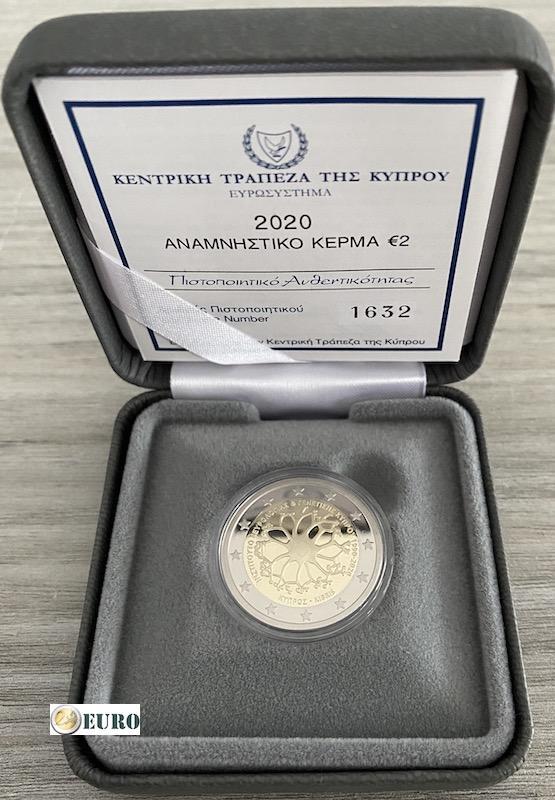 2 euros Chipre 2020 - Instituto Neurología y Genética BE Proof