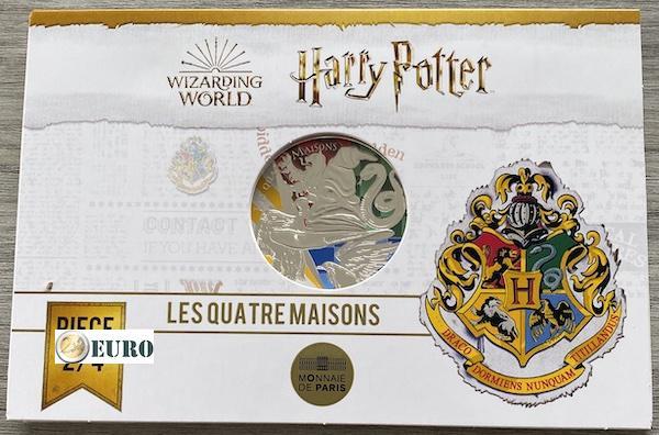 50 euros Francia 2021 - Harry Potter 4 casas de Hogwarts BE Proof Plata colorado