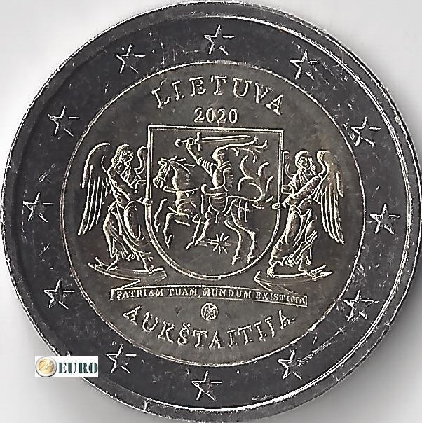 2 euros Lituania 2020 - Región de Aukstaitija UNC