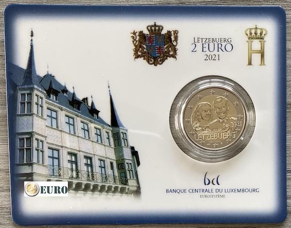 2 euros Luxemburgo 2021 - 40 años bodas Enrique BU FDC Coincard