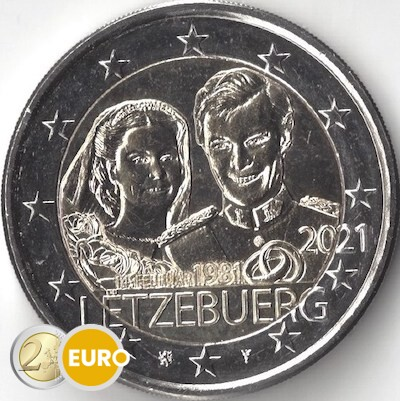 2 euros Luxemburgo 2021 - 40 años bodas Enrique UNC