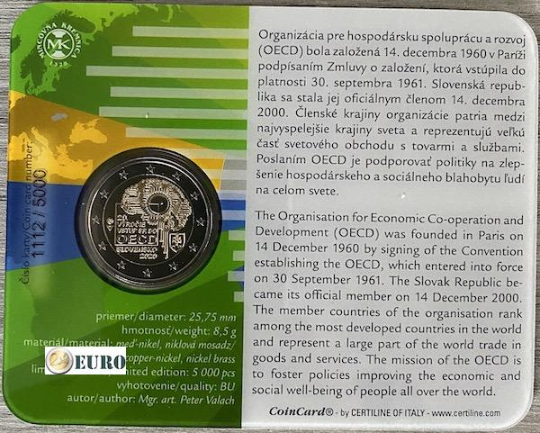 2 euros Eslovaquia 2020 - Ingreso a la OCDE BU FDC Coincard