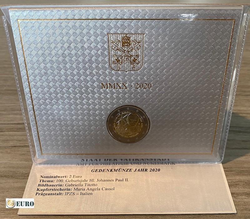 2 euros Vaticano 2020 - 100 años Papa Juan Pablo II BU FDC