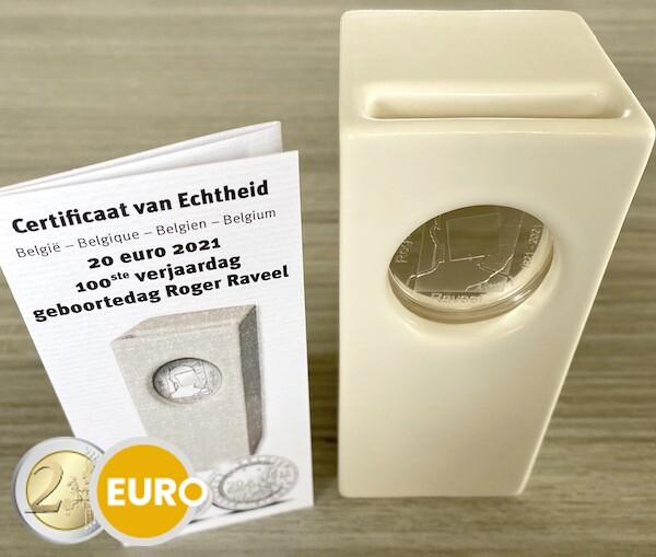 20 euros Bélgica 2021 – Raveel BE Proof Plata cerámica