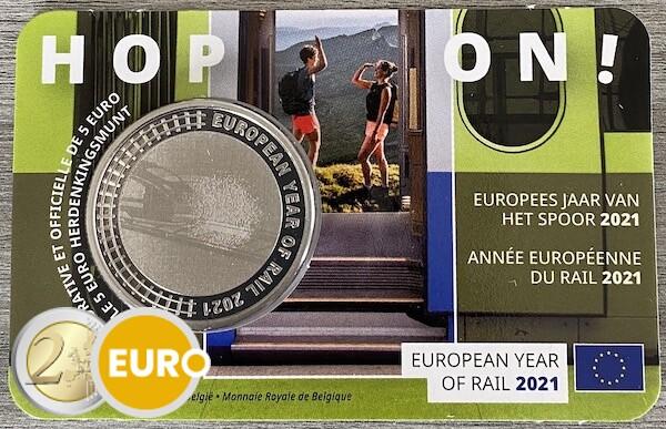 5 euros Bélgica 2021 - Año Europeo del Ferrocarril BU FDC Coincard