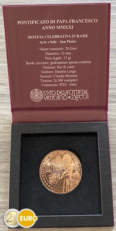 20 euros Vaticano 2021 - San Pedro UNC cobre