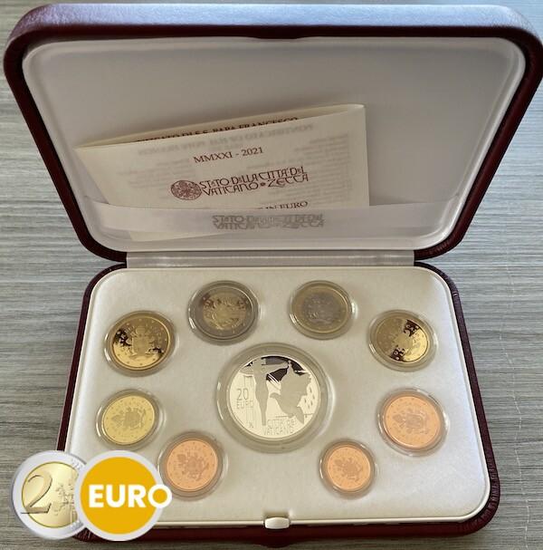 Serie de euro BE Proof Vaticano 2021 + 20 euros plata