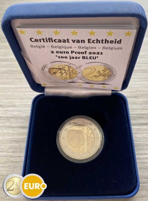 2 euros Bélgica 2021 - 100 años UEBL BE Proof