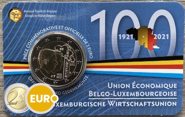 2 euros Bélgica 2021 - 100 años UEBL BU FDC Coincard FR