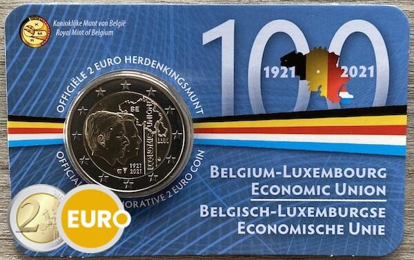 2 euros Bélgica 2021 - 100 años UEBL BU FDC Coincard NL