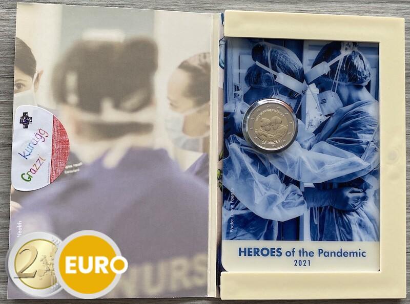 2 euros Malta 2021 - Héroes de la pandemia BU FDC Coincard marca monetaria MdP