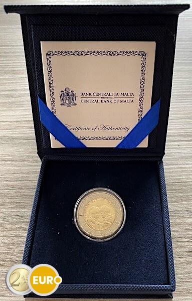 2 euros Malta 2021 - Héroes de la pandemia UNC Caja marca monetaria MdP Certificado