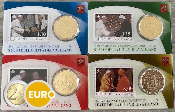 50 céntimos y sello coincard Vaticano 2021 - nr 36 + 37 + 38 + 39