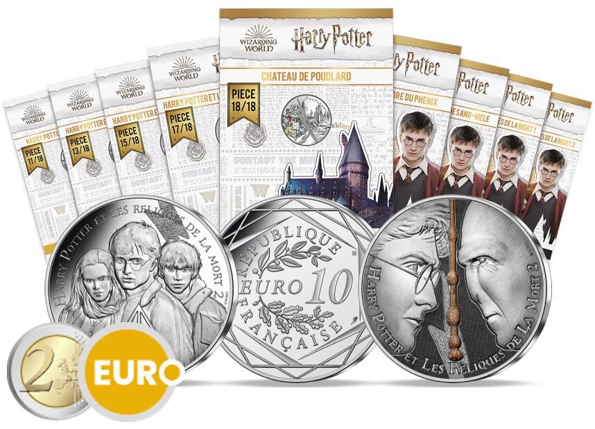 9 x 10 euros Francia 2021 - Harry Potter UNC plata en blister - Volumen 2